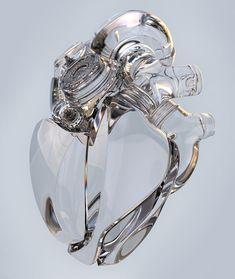 Ukrainian CG artist Aleksandr Kuskov creates an artificial heart that explores new shapes and materials like metal and glass. Artificial Heart, Hacker Wallpaper, Object Drawing, Donia, Futuristic Technology, Metal Artwork, Fused Glass Art, Heart Art, Glass Design