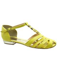 Sandália Rasteira Bottero Couro Amarelo 217402