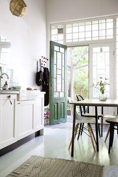painted green door in kitchen. / sfgirlbybay