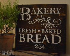 Signo de panadería Vintage pintados a mano - pan fresco