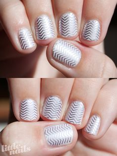 Silver Chevrons | Little Nails she used a stamp I'm totally trying it