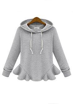 Grey Patchwork Falbala Long Sleeve Cotton Blend T-Shirt