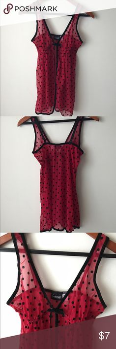 Frederick's of Hollywood red babydoll lingerie Red and black polka dot babydoll style lingerie - adjustable straps - sheer - nylons spandex size S Frederick's of Hollywood Intimates & Sleepwear