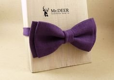 Dark Purple Violet Linen  Bow Tie  Ready Tied Bow by MrDEERbowtie