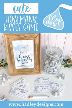 Give your little guy the perfect party! These baby elephant guessing jar cards are just what you need to make your party a hit. These watercolor cloud birthday or baby boy shower games; light blue guess how many kisses in the jar cards and sign, baby shower decorations boy, must have baby shower party supplies, guess how many baby shower games for boys, kids birthday party games for kids, guessing games, baby shower ideas, party games, guess how many kisses game, baby shower supplies, sip n see