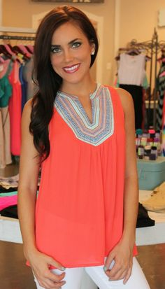 Dottie Couture Boutique - Coral Tribal Tank, $38.00 (http://www.dottiecouture.com/coral-tribal-tank/)