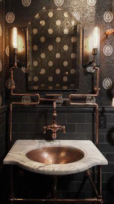 Victorian Wallpaper Steampunk Interior Ideas Of Victorian Steampunk Decor. Steampunk Interior, Casa Steampunk, Steampunk Design, Steampunk Theme, Steampunk Home Decor, Style Steampunk, Victorian Steampunk, Victorian Era, Industrial Bathroom Design