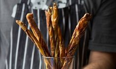 Drawing straws: anchovy twists and cheese straws.