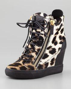 X1RBM Giuseppe Zanotti Leopard-Print Calf Hair Wedge Sneaker