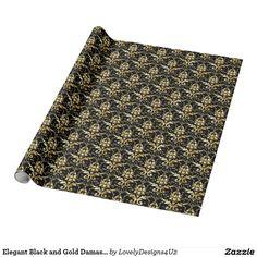Elegant Black and Gold Damask Pattern Wrapping Paper Damask, Wrapping, Wraps, Parties, Entertaining, Elegant, Paper, Gold, Black