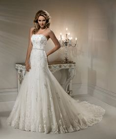 aa97bc756bf 2012 Maggie Sottero Bridal - Ivory Lace   Beaded Strapless Fitted Natasha Wedding  Gown - 0