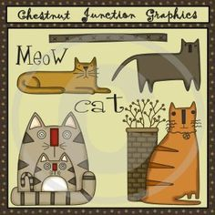 Primitive patterns and epatterns for dolls and crafts and primitive embroidery - stitchery patterns and ePatterns by Chestnut Junction. Primitive Embroidery, Primitive Patterns, Rug Hooking Patterns, Rug Patterns, Cat Quilt, Felt Applique, Cat Drawing, Doll Crafts, Cat Art