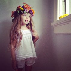 Summer flower headpiece. Flowers from our garden. By Kirsten Rickert