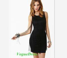 2014 New Fashion Vintage Long Tassel Deco Slim Tube Tank Vest Dress O-neck Sexy Club Dress Bodycon Plus Size Party Dress #247 $28.32