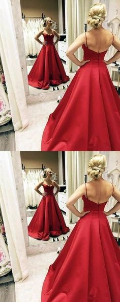 Sweetheart Long Prom Dresses Spaghetti Straps Backless A-Line Evening Formal Dresses Straps Prom Dresses, Prom Dresses 2018, Dance Dresses, Concert Dresses, Party Dresses, Formal Evening Dresses, Evening Gowns, Dress Formal, Dress Long