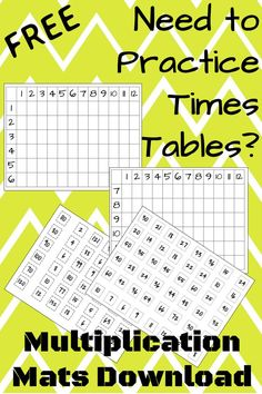 FREE Multiplication tables practice - cut out the cards and students place them on the correct space to complete the chart. Laminate for repeated use!