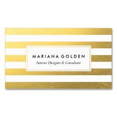 White and Gold Foil Stripe Business Card. This is a fully customizable business card and available on several paper types for your needs. You can upload your own image or use the image as is. Just click this template to get started!
