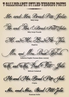 calligraphy styled wedding fonts