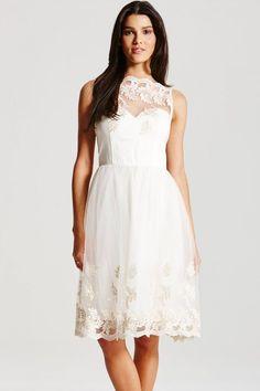 Little Mistress Cream Embroidered Prom Dress