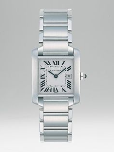 CARTIER Tank Francaise Stainless Steel Watch On Bracelet, Medium