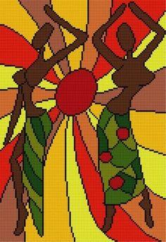 0 point de croix moderne femmes africaines dansant - modern cross stitch african girls dancing
