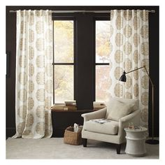 "West Elm Claude Medallion Flocked Curtain, 48""x84"", Stone - Window... ($69) ❤ liked on Polyvore featuring home, home decor, window treatments, curtains, grey, window coverings, gray patterned curtains, rod pocket curtains and window curtains"