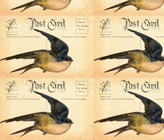 Bird Postcard fabric by angelandspot on Spoonflower - custom fabric