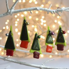 set of 5 tiny trees by Molten Wonky. Fused glass Christmas Tree decorations,bells and all!
