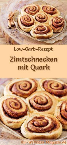 Low-Carb-Rezept für Zimtschnecken mit Quark: Kohlenhydratarmes Frühstück - gesund, kalorienreduziert, ohne Getreidemehl ... #lowcarb #frühstück