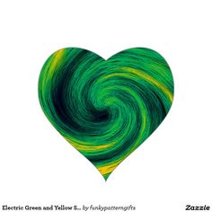 Electric Green and Yellow Swirling Spiral Vortex Heart Sticker