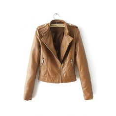 Yoins Yoins Brown Biker Leather Jacket ($39) ❤ liked on Polyvore featuring outerwear, jackets, brown, coats & jackets, real leather jacket, brown biker jacket, biker style jacket, sports bike jacket and brown leather jacket