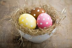 easter eggs painted in a nest