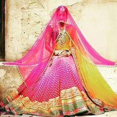 Shaded pink lehenga choli with dupatta.Fabric - Net, pure banarasi viscose jacquard and pure bhagalpuri silk.Work - Resham, lace, stones and buttas.Matching choli and dupatta is available with this. Pink Bridal Lehenga, Pink Lehenga, Wedding Lehnga, Indian Wedding Bride, Big Fat Indian Wedding, Desi Bride, Indian Weddings, Lehenga Style Saree, Lengha Choli