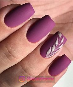 A manicure is a cosmetic elegance therapy for the finger nails and hands. A manicure could deal with just the hands, just the nails, or Nail Art Violet, Purple Nail Art, Red Nail Art, Purple Nail Designs, Nail Art Designs, Nails Design, Pedicure Designs, Matte Purple Nails, Purple And Silver Nails