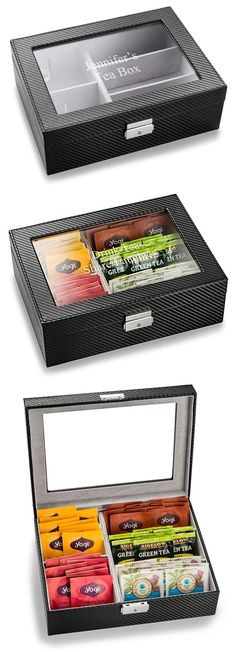 Personalizable Black Carbon-Fiber-Look Tea Box with Hinged Glass Lid