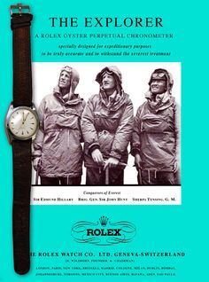 Watches Ideas Sir Edmund Hillary's Rolex Oyster Perpetual Discovred by : Todd Snyder Modern Watches, Luxury Watches, Cool Watches, Rolex Watches, Watches For Men, Wrist Watches, Vintage Rolex, Vintage Watches, Vintage Ads