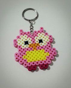 Owl keyring hama perler beads by Love Cupcoonka - www.facebook.com/hamabeadshobby