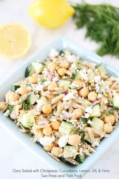 Made no feta cheese and shallot instead of red onion. Orzo Salad with Chickpeas, Cucumbers, Lemon, Dill, & Feta Easy Salads, Healthy Salads, Summer Salads, Healthy Eating, Summer Lunches, Work Lunches, Healthy Summer, Healthy Recipes, Vegetarian Recipes