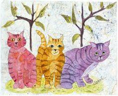 Batik, Watercolor Batik,Cat Art, Cat Paintings, Nursery Wall Art,Watercolor…