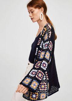 Mango Cotton Crochet Cardigan - S-M Cardigan Au Crochet, Gilet Crochet, Black Crochet Dress, Crochet Jacket, Cotton Crochet, Knit Crochet, Knit Fashion, Boho Fashion, Stylish Clothes For Women