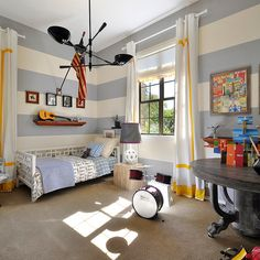 Boys Room Design Ideas this boys bedroom in nice grey blue and red tones doubles as a fun playroom Contemporary Kids Room Design Ideas Remodels Photos For Boys