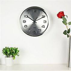 Wall Clocks - Modern Style Wall Clock in Stainless Steel Clock Decor, Wall Clocks, Modern Wall, Wall Murals, Stainless Steel, Paintings, Home Decor, Style, The Office