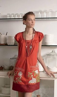 RARE Anthropologie 2009 Fire's Path Dress Shift Embroidered Floreat S 6 #Anthropologie #Shift #Cocktail