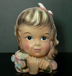 Vintage Enesco Delsey Tissue Girl Head Vase by jujubeezcloset, $28.00