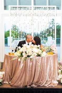 sweetheart table - photo by Candice Benjamin Photography http://ruffledblog.com/romantic-california-wedding-in-buena-park
