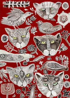 Cate Edwards ~ Here Kitty Design Textile, Design Floral, Textile Patterns, Art And Illustration, Pattern Illustration, Illustration Animals, Boho Pattern, 30 Day Drawing Challenge, Scandinavian Pattern