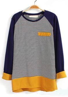Yellow Striped Pocket Long Sleeve Cotton Blend T-Shirt
