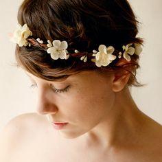 Bridal hair crown, Wedding wreath, Flower head piece, Boho garland, Ivory flower crown