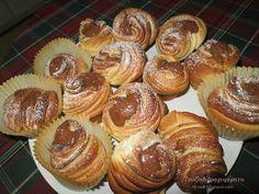 Ζουζουνομαγειρέματα: Cruffin τα νόστιμα και όμορφα! Yams, Nutella, Creme, Muffins, Cupcakes, Cooking, Breakfast, Pastries, Food