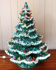 VINTAGE CERAMIC 4PC LIGHTED LARGE FLOCKED CHRISTMAS TREE W/MULTI COLOR  LIGHTS